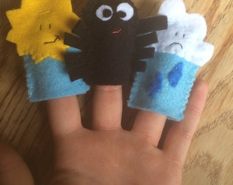 Incy wincy spider finger puppets set