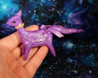 Purple polymer clay glitter cat clay glittery figurine with purple bow