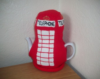 Knitted Tea Cosy Cosie Great British Icon, Red Telephone Box