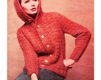 KNITTING PATTERN - Mohair Hooded Sweater Jacket - Coat Sweater Pattern - Instant Download Pdf - Vintage Button Up Cardigan - Mohair Yarn