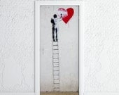Door Sticker • GRAFFITI, STREET ART man on a ladder • Self-Adhesive Vinyl Decal • Door Wrap 30x79""
