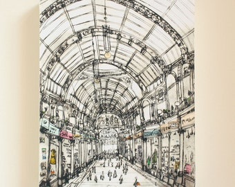 LEEDS SHOPPING Canvas Print, County Arcade Boutique Shop, Drypoint, Yorkshire Wall Art, Signed Box Canvas, Victoria Quarter, Clare Caulfield