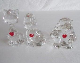 Vintage Crystal Heart Fiqurines Lot