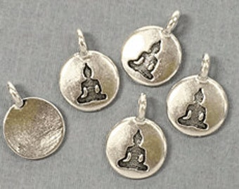 Meditating Buddha Charm 17x12mm Antique Silver Finish TierraCast Charms - P2407SA