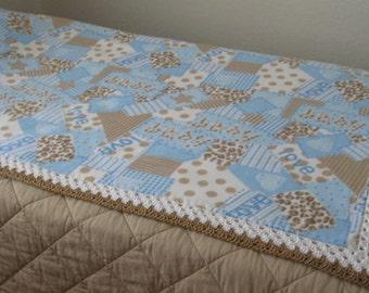 Baby Boy Anti Pill Fleece Blanket With Bicolor Crochet Border. Free Standard Shipping