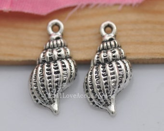 20pcs Conch Charms, 10x20mm Antique Silver Conch Charms Pendant, Sea Snail Charms Pendant