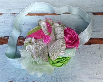 Hot Pink & Lime Green Fabric Flower, Rosette Headband, Girls Headband, Hair Accessories, Baby's Headband, Girls Hair Bows, Pink and Green