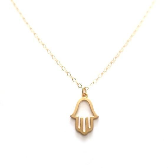 Gold Hamsa Necklace, Hamsa Pendant, Hamsa Jewelry, Delicate Gold Necklace, Gold Hand Necklace, 14k Gold,  Dainty Gold Layer Necklace