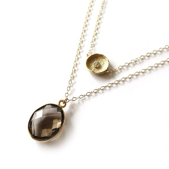 Gemstone Necklace, Smoky Topaz Necklace, Gold Layer Necklace, Thin Gold Chain, 14k Gold Filled Chain, Gemstone Jewelry, Brown Pendant