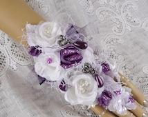 White/Purple/Plum Fingertip to Wrist Corsage-Bride's Corsage-Prom Corsage-Prom Wrist Corsage-Fabric Corsage-Jewelry Corsage-Wedding Corsage