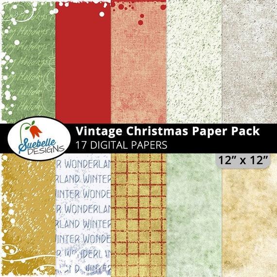 Vintage Christmas Digital Paper Pack (Digital Scrapbooking Paper Backgrounds)