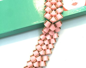 Pink Thermoset Bracelet, Three Dimensional, Three Rows of Themoset, Gold Tone, 1950s