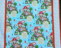 Nursery Rhyme Crib quilt, - baby shower, lap time, play mat, handmade cotton quilt 28 inches by 35 inches. Old Lady who Lived in a Shoe