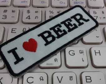 I Love Beer Iron on Patch - I Love Beer Applique Embroidered Iron on Patch