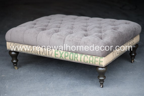 Custom Order Large Upholstered Tufted Coffee Table Ottoman