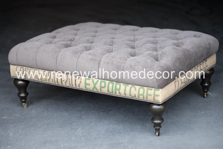 custom order large upholstered tufted coffee table ottoman. Black Bedroom Furniture Sets. Home Design Ideas