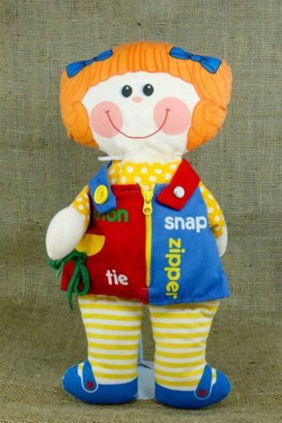 Playskool Dressy Bessy 1983 Cloth Soft Doll Learn Dress Tie