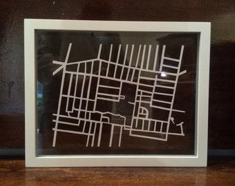 Custom laser cut map paper