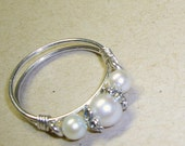 Purity Ring Pearl Band Sterling Silver