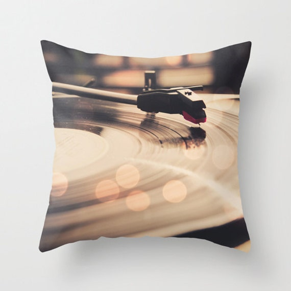 Decorative Throw Pillows Etsy : Vintage Record player decorative throw pillow cover bokeh