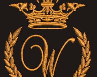 """Crown, laurel wreath and the monogram letter """"W"""" - Machine embroidery design,   design tested."""