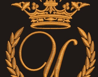 """Crown, laurel wreath and the monogram letter """"U"""" - Machine embroidery design,   design tested."""