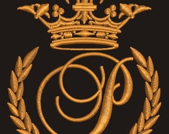 """Crown, laurel wreath and the monogram letter """"P"""" - Machine embroidery design,   design tested."""