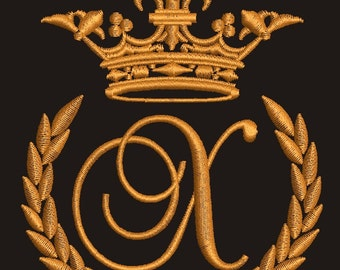 """Crown, laurel wreath and the monogram letter """"X"""" - Machine embroidery design,   design tested."""