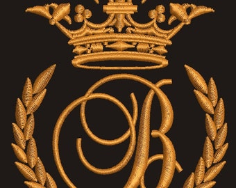 """Crown, laurel wreath and the monogram letter """"B"""" - Machine embroidery design,   design tested."""