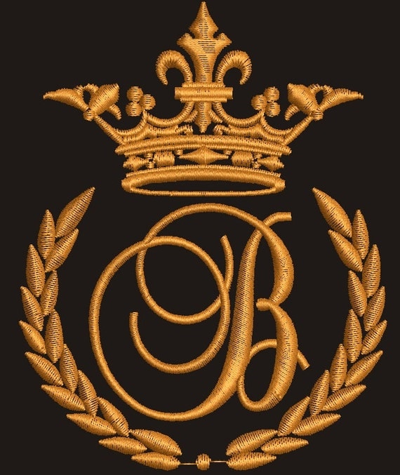 Crown laurel wreath and the monogram letter B