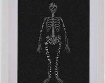 Framed Skeleton Picture - Handmade Personalised Typography
