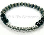 Black Wood Mens Beaded Bracelet, Men's Black Bracelet, Father's Day Gift, Men's Gifts, Handmade, Custom, Beaded Jewelry, Men's Bracelet,