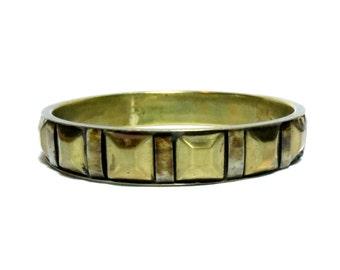 Clearance Sale - Gold pyramid stud Bangle Bracelet - gold stud bangle - bone - brass bangle
