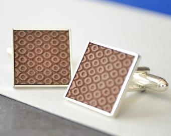 Geometric Circle Engraved Cufflinks