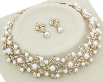 Bridal Necklace, Wedding Necklace, Gold Bridal Necklace Set, Wedding Pearl Necklace Set, Bridal Wedding Jewelry, Bridal Pearl Set N-240LA
