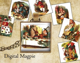 Alice In Wonderland digital collage sheet 1 inch squares instant download printable inchies for pendants jewelry crafts