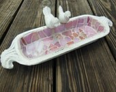 Pink Mosaic Birdbath, Whitewash Decor, Rustic Chic, French Country Cottage