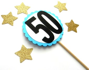 Large 50 Cake Topper, Birthday Party, Over the Hill Topper, 50s Theme Birthday, Scalloped Topper, 50s Centerpiece