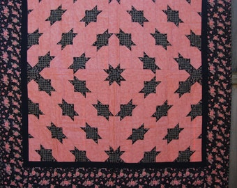 Pink and Black Floral Star Medallion Lap-Size Quilt