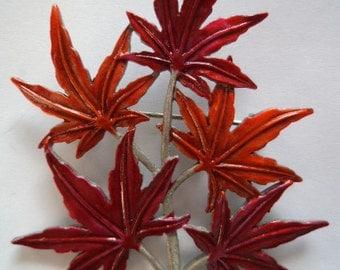 Vintage Signed JJ Silver pewter Enamel Japanese Maple Leaf Brooch/Pin