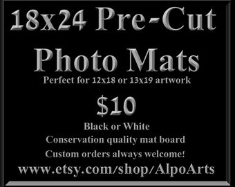18x24 Pre Cut Photo Mats, for 8x10 12x18 or 13x19 images, Black or White acid free, conservation quality photo mats, Ask for custom orders