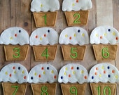 Cupcake Number Matching Game, Embroidered Acrylic Felt, Multicolored Sprinkles and Lime Green Numbers, Educational Preschool Game, USA Made