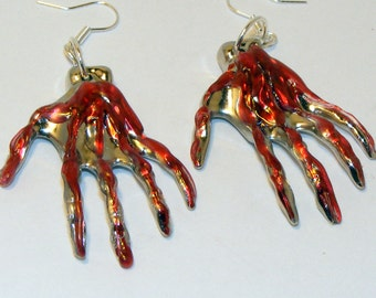 Silver Tone and Blood Zombie Hand Earrings, Dead, Skull, Skeleton, Ghoulish, Halloween, Dripping Blood, Dangle Earrings, Jewelry, Fashion