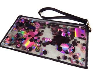 Black and Pink Clutch Bag Glitter Wristlet Purse Holographic Clutch Bag