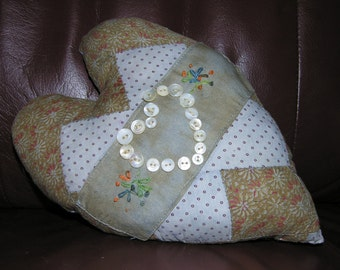 Antique Quilt Block Pillow with Hand Embroidery and Pearl Buttons Primitive Home Decor Elongated Primitive Heart