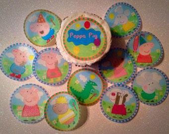12 Peppa Pig edible paper, cupcake cookie topper Decorations PRE CUT