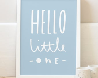 A3 Hello Little One Print - typographic print - new baby gift