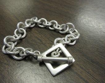 "Sterling Silver Toggle Bracelet 7"""