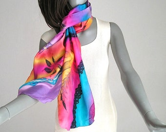 Hand Painted Silk, Rainbow Scarf, Unique Handmade, Multicolor Scarf, Unique Silk Scarf, One of a Kind, Jossiani