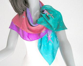 Hand Painted Silk, Large Square Scarf, Shooting Stars, Handmade, Unique Scarf, Multicolor Scarf, Unique Silk Scarf, One of a Kind, Jossiani